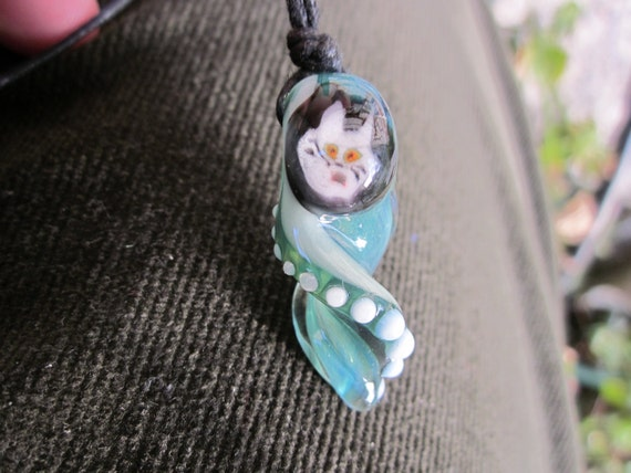 CRAZY CAT Lampwork Necklace Boro Glass Focal Pendant  Art Bead Green Twisty Charm with White Dots Handcrafted with Love by Helen Lee Hoffman