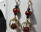 Tiny Bead Filled Bird Cage Earrings