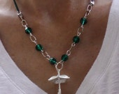 Umbrella Charm with Teal Leather and Crystal Necklace