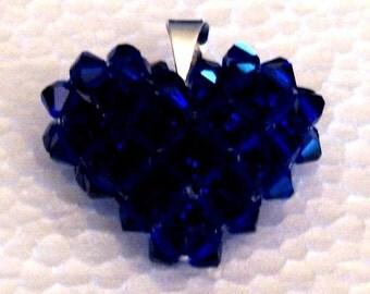 Valentine's Day Deep Blue Sapphire Swavorski Crystal Heart Pendant, Charm