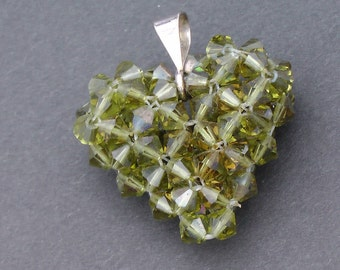 Etsy's Heart  Pendant handmade from lime colored  swarovski crystals with sterling silver bail Pendant, Charm