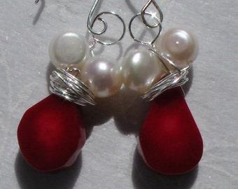 Earrings in Red Coral & White Pearl Earrings