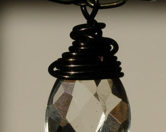 Crystal Teardrop wire wrapped with Chocolate Brown Wire