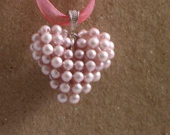 Pink Pearl Heart Pendant/Charm