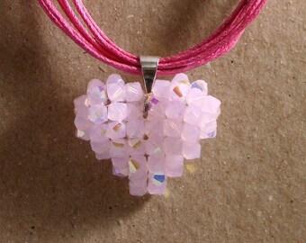 Valentine's Day Pink Swavorski Crystal Heart Pendant