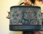 Vintage Navajo Zuni Tapestry Train Case Luggage Weekender