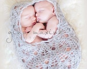 Crocheted Newborn Twins Cocoon -Two Little Lumpkins  in Grey Mohair - Photo Prop