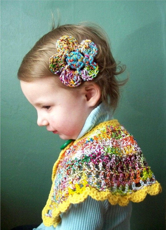 Toddler Capelet Crochet and Hair Clip 2T - 3T Rainbow Recycled Yarn