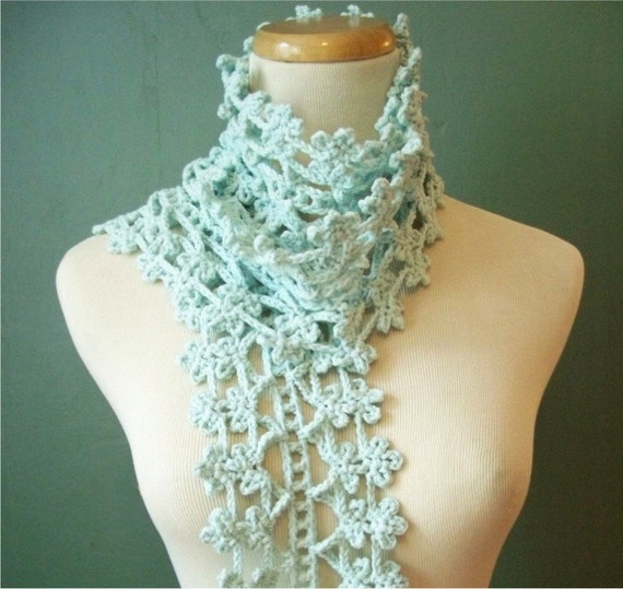 Scarf - Crocheted Lace - Lacy and Soft Robin's Egg Blue Cotton Blend
