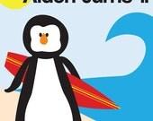 Surfer Penguin Birthday Party Invitation (printable)