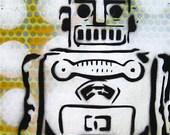 Robot... Original Graffiti Stencil Style Painting on Wood Box