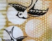 Original Painting Graffiti Style Pop Art on Re Purposed  Wood Panel ...Seven Swallows