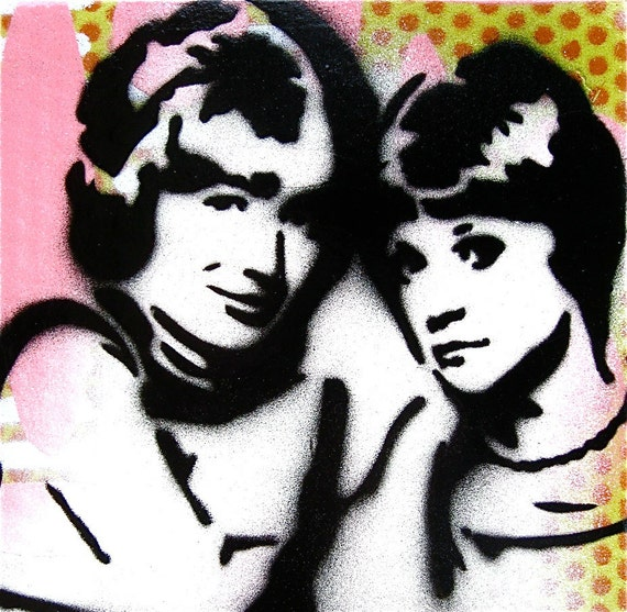 Original Painting Graffiti Style Pop Art on Wood Panel ... Laverne and Shirley
