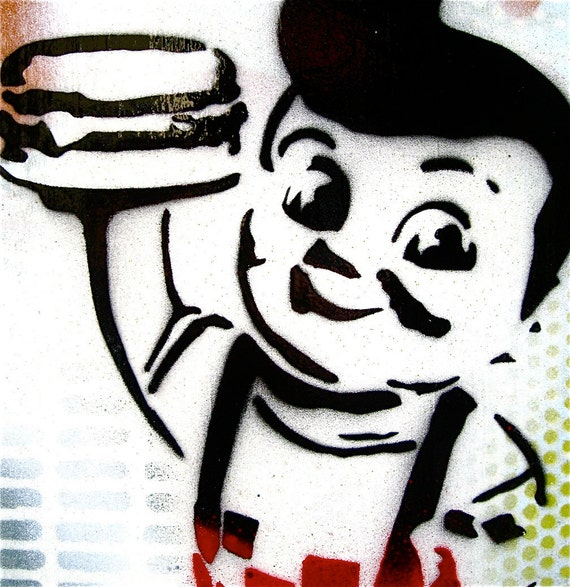 Big Boy... Original Painting Graffiti Style Pop Art on Handmade Wood Canvas