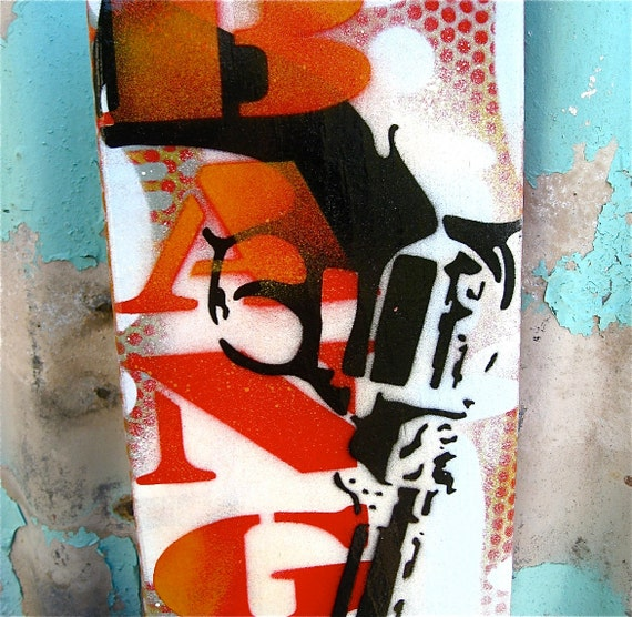 BANG ...Original Painting Graffiti Style Pop Art on Handmade Wood Canvas