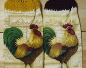 Set Of Two Rooster Hand Towels With Gold And Coffee Crocheted Tops