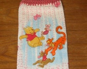 Winnie The Pooh, Piglet, Tigger, And Roo Hand Towel With Light Raspberry Crocheted Top