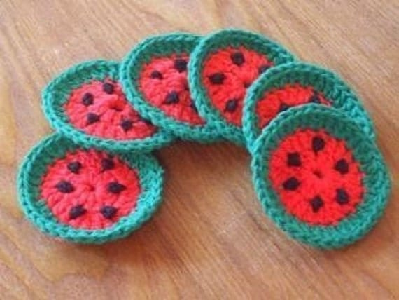 Lot Of Six Miniature Watermelon Crocheted Face Scrubbies