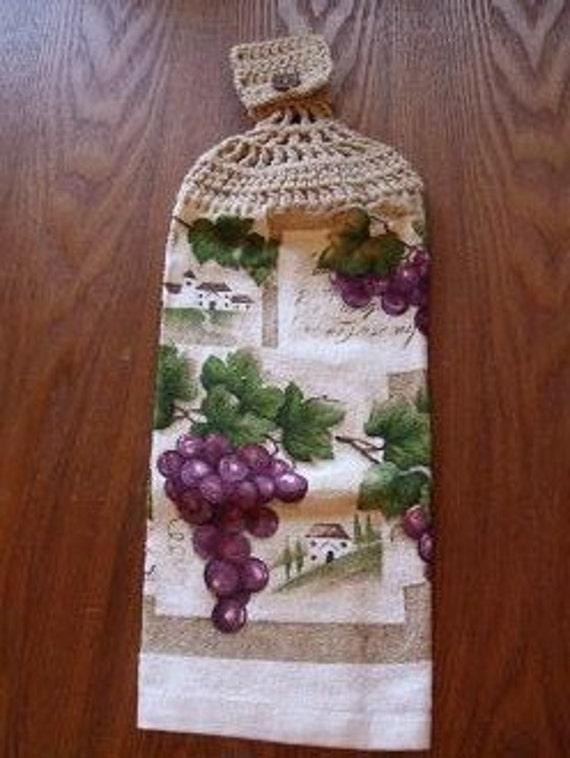 Grape Clusters Hand Towel With Light Tan Buff Brown Colored Crocheted Top