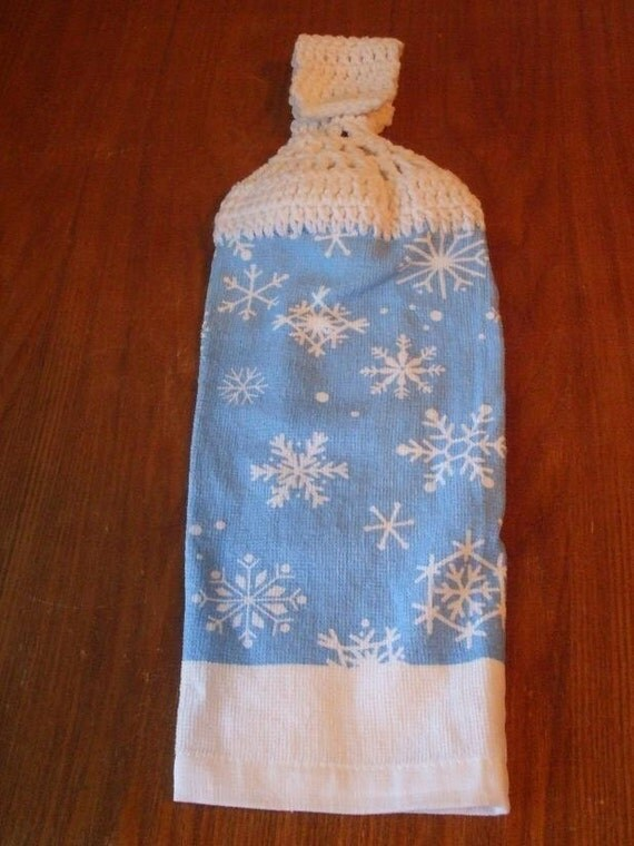 Blue And White Snowflake Hand Towel With White Crocheted Top