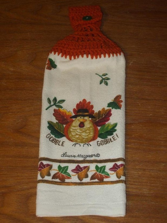 Gobble Gobble Turkey Hand Towel With Carrot Orange Crocheted Top