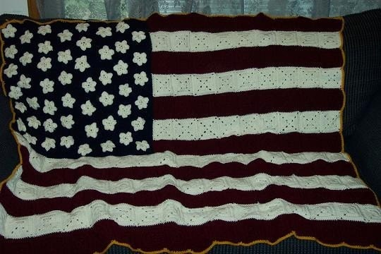 Rustic American Flag Crocheted Granny Square Afghan-MADE TO