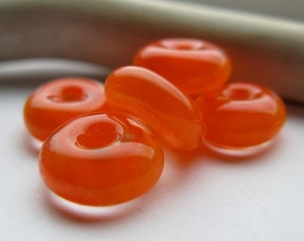 tangerine halos Lampwork Beads by Ellen Dooley earring pairs