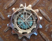 RESERVED for CARMEN - Bike Cog Turquoise Wire Weave Pendant w\/ Guitar String cord