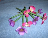 Flower Pens - Magenta Pink and Purple Pansy  - Set of 8