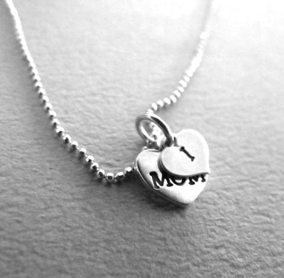 """Heart Charm with personalized stamping. """"I&Mom"""""""