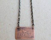 Copper Etched Necklace-Vegan Bird Pendant