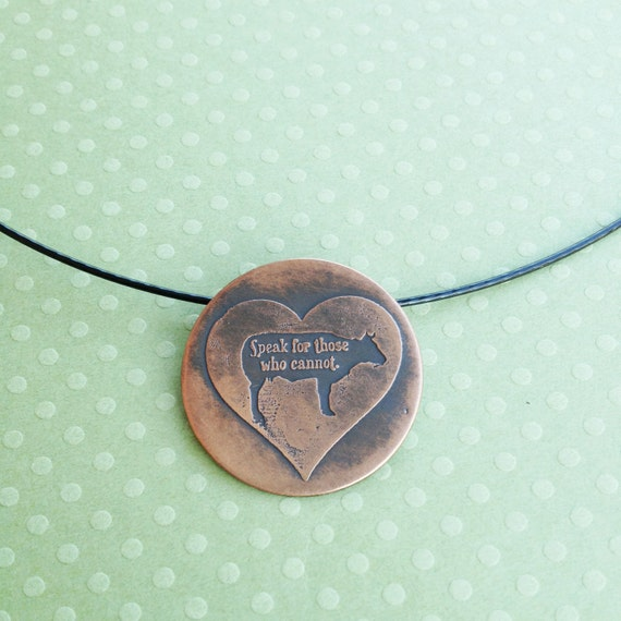 Copper Etched Necklace-Heart with Cow