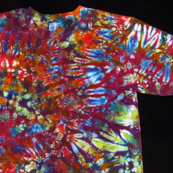 Tie Dye T-Shirt short sleeve Psychedelic FRACTAL Rainbow Space Hippie tie dye Art Hand Dyed by Big Blue Dyes size S Small