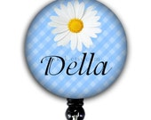 Retractable Badge Holder - Personalized Name Daisy