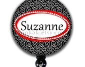 Retractable Badge Holder - Personalized Name - Black and Red Swirl - Badge Holder