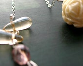 CAKE NECKLACE - luxe delicate sterling silver necklace with sparkling czech glass and rare vintage rose bead
