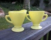 Reserved for Denise - Vintage Glass Sugar Bowl and Creamer - Lemon Yellow