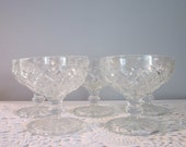 Five Vintage Dessert Dishes - Footed Clear Glass