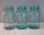 Reserved for nandrick - Vintage Blue Quart Mason Jars - Candle Lights