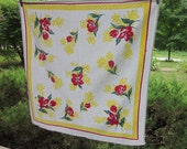 Vintage Tablecloth - Red and Yellow Cotton Floral