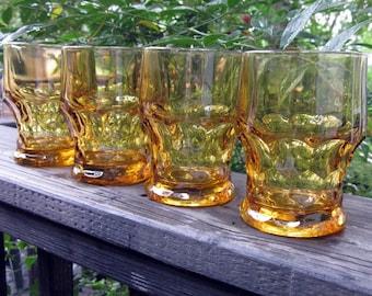 Mid Century Glasses  - Four Gold/ Amber - Georgian Style