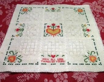 Vintage Needlework -  Hand Embroidered Panel