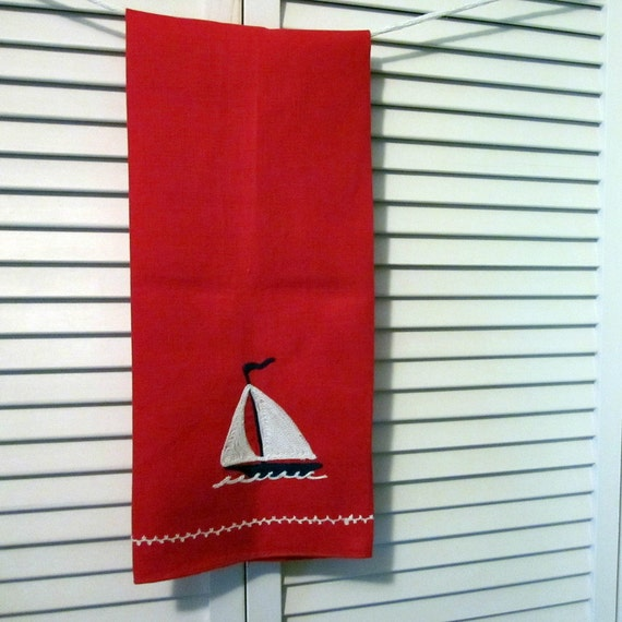 Vintage Linen Hand Towel - Red Nautical