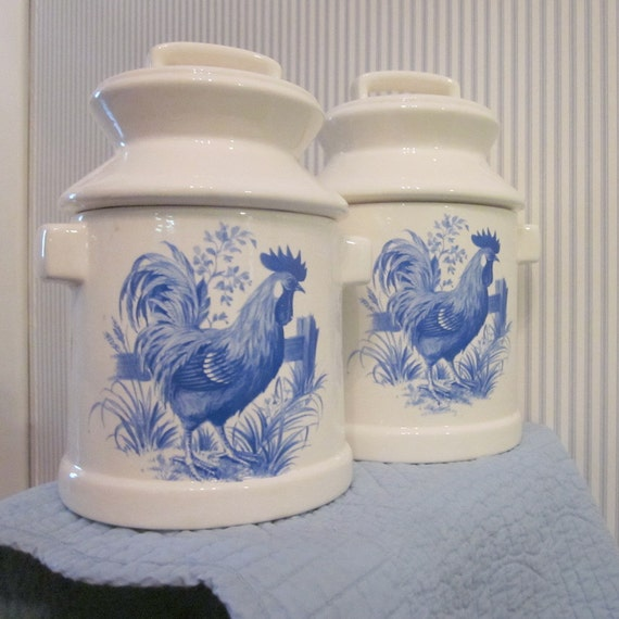 Vintage Ceramic Canisters - Blue and White French Country