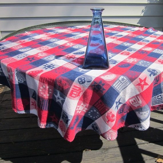 Vintage Round Tablecloth - Woven Cotton Red White Blue