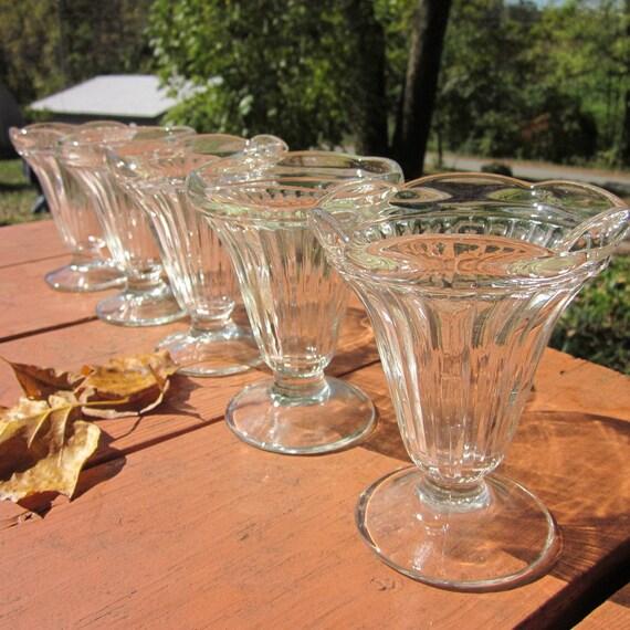 Vintage Glass Sundae Dishes - Set of 5