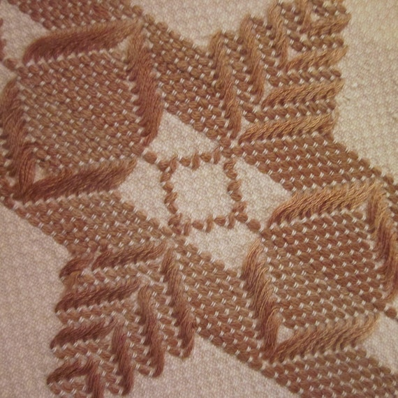Vintage Tea Towel - Pink and Brown Huck Embroidery