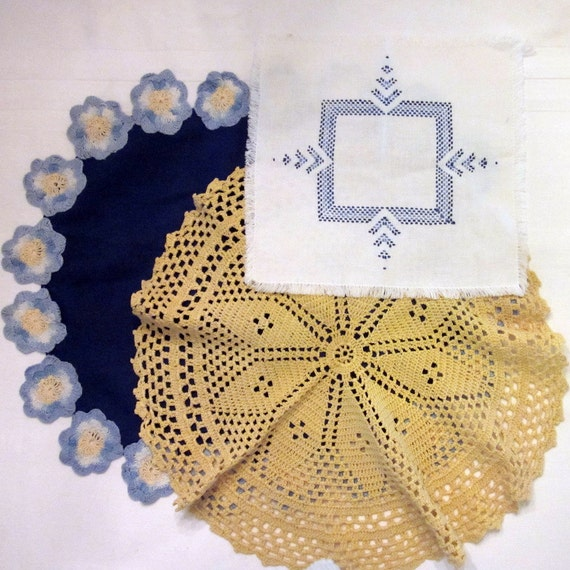 Vintage Doilies - Three Blue and Yellow
