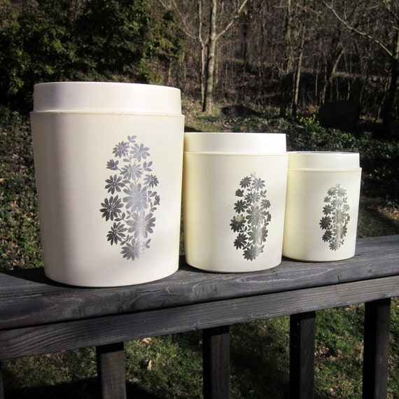 Reserved for Annabel - Vintage Canister Set - Three Plastic - White With Silver