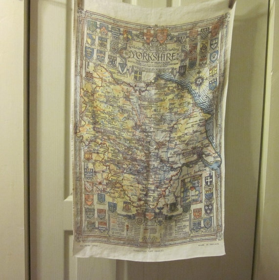 Vintage Linen Tea Towel/ Dish Towel - Map